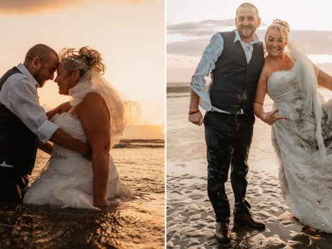 Bride destroys £999 wedding dress in sea and sand for 'trash the dress' photoshoot