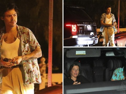 Harry Styles leaves super exclusive Hollywood members club with mystery woman and Simon Cowell's trousers on