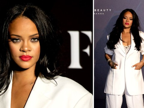 Rihanna means business rocking a dazzling white suit to her Fenty Beauty masterclass in Japan