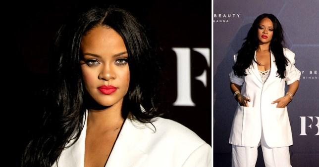 Rihanna white suit