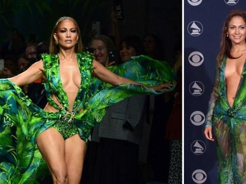 Jennifer Lopez walks Versace runway in that iconic plunging dress from 2000