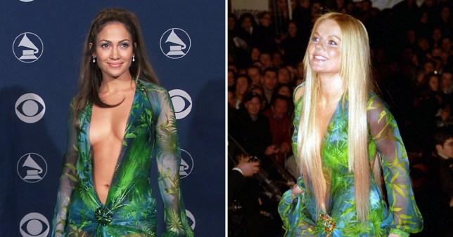 Jennifer Lopez and Geri Horner in Versace dress