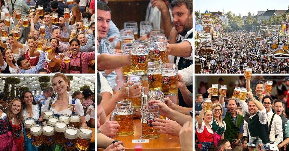 Compilation of revellers at opening day of 186th Oktoberfest in 2019