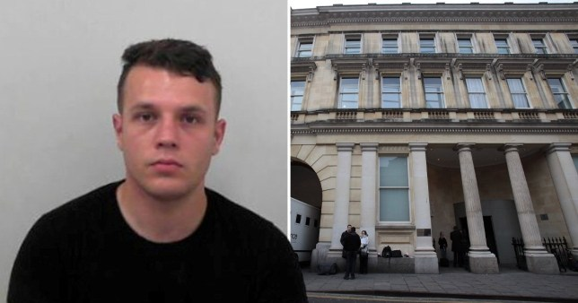 Rapist army trainee John Osborne next to picture of Bristol Crown Court