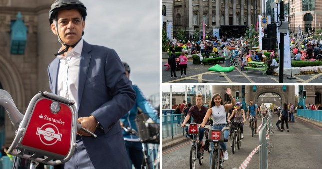 Composite shot showing Sadiq Khan and others during World Car Free Day 2019