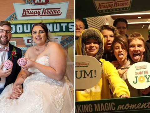 Couple who met in line for opening of new Krispy Kreme branch return to store on their wedding day