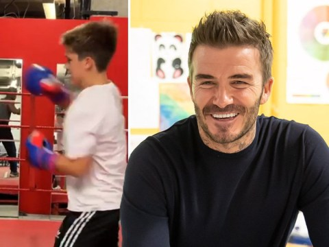 David Beckham raising next generation of sports stars as he sneaks into Cruz's £80 boxing lesson
