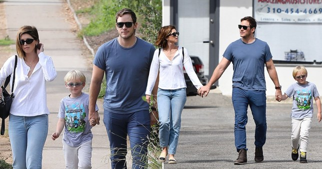 Chris Pratt, wife Katherine Schwarzenegger and son Jack Pratt