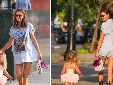 Irina Shayk and tutu-wearing daughter Lea, 2, are way too cute as they take stroll following Bradley Cooper custody agreement