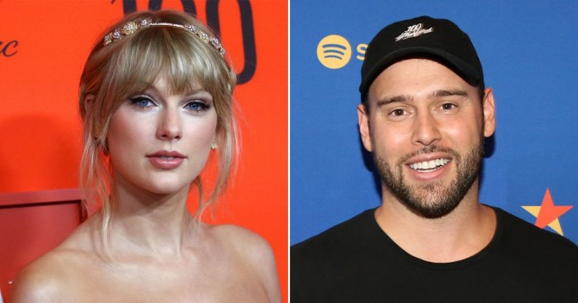 A picture of Taylor Swift next to a picture of Scooter Braun