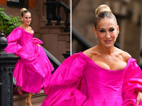 Sarah Jessica Parker makes a style statement in pink dress – and odd shoes