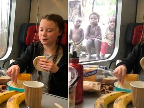 Fury over fake photo of Greta Thunberg eating lunch in front of poor children