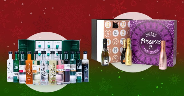 Combined image of the Chase vodka and gin advent calendar and the Prezzybox bubbly calendar