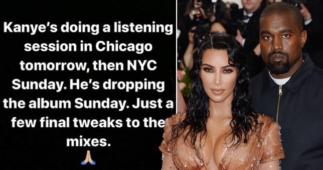 Kim Kardashian claims Kanye West's new album Jesus Is King 'will drop Sunday'