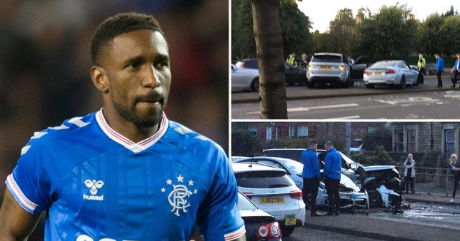 Composite picture of Jermaine Defoe and scenes from car crash