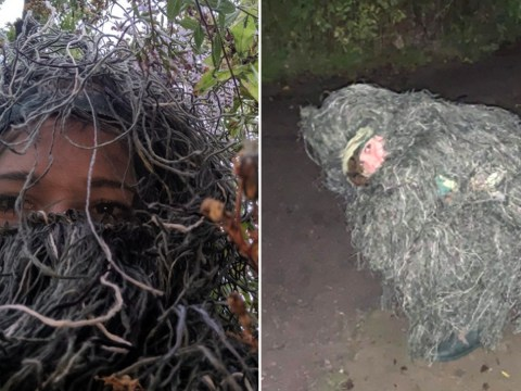 Woman dresses up as a bush to discreetly capture sister's wedding proposal