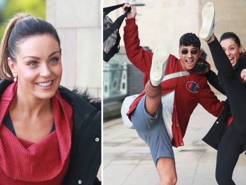 Strictly Come Dancing's Karim Zeroual and Amy Dowden high kick their way to rehearsals as star catches up as favourite to win