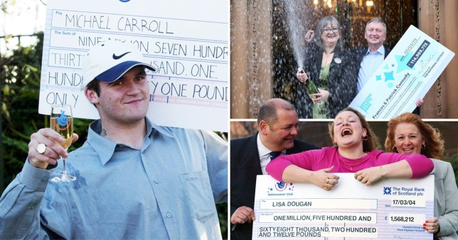A picture showing three different winners of the Euromillions celebrating becoming millionaires