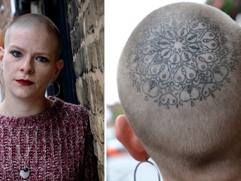 Endometriosis-sufferer gets head tattooed with vulvas, penises and breasts