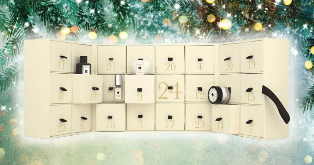 Jo Malone advent calendar 2019 with Christmas background