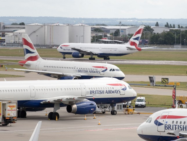 File photo dated 21/07/17 of British Airways aircraft at London's Heathrow airport. BA pilots are to stage a series of strikes next month in a dispute over pay. PRESS ASSOCIATION Photo. Issue date: Friday August 23, 2019. The British Airline Pilots' Association (Balpa) said its members will walk out on September 9, 10 and 27. The union said it put forward a number of packages during several days of talks at the conciliation service Acas that it believed would have resolved the dispute without a strike. See PA story INDUSTRY BA. Photo credit should read: Steve Parsons/PA Wire