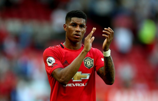 """Manchester United's Marcus Rashford appears dejected after the final whistle during the Premier League match at Old Trafford, Manchester. PRESS ASSOCIATION Photo. Picture date: Saturday August 24, 2019. See PA story SOCCER Man Utd. Photo credit should read: Nigel French/PA Wire. RESTRICTIONS: EDITORIAL USE ONLY No use with unauthorised audio, video, data, fixture lists, club/league logos or """"live"""" services. Online in-match use limited to 120 images, no video emulation. No use in betting, games or single club/league/player publications."""