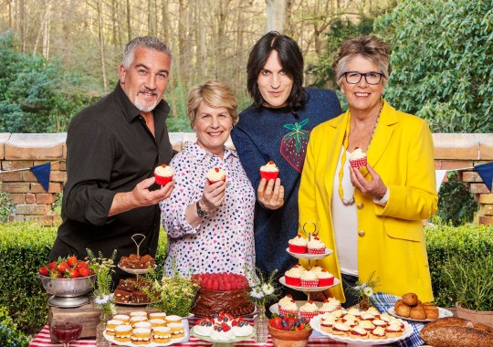 Paul Hollywood, Sandi Toksvig, Noel Fielding and Prue Leith from Great British Bake Off