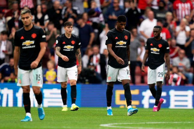 epa07807076 Manchester United players react after Southampton's Jannik Vestergaard scored during the English Premier League soccer match between Southampton and Manchester United at St Mary's Stadium, Southampton, Britain, 31 August 2019. EPA/WILL OLIVER EDITORIAL USE ONLY. No use with unauthorized audio, video, data, fixture lists, club/league logos or 'live' services. Online in-match use limited to 120 images, no video emulation. No use in betting, games or single club/league/player publications