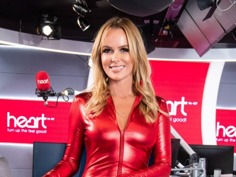 Amanda Holden poses in completely impractical skintight catsuit and heels for charity skydive
