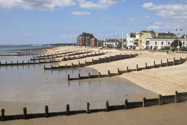 Shingle Beach and seafront at Bognor Regis in West Sussex. England