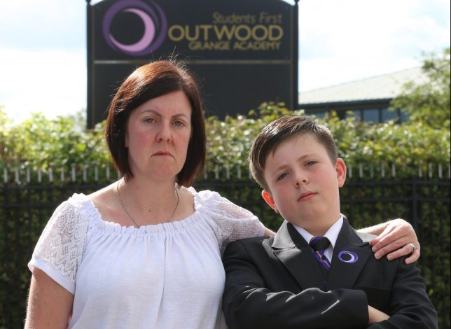 MAIL ONLINE: Sharon Hale, 41 and her son Archie Hale, 11 outside Outwood Grange Academy, Leeds, September 08 2019. Archie turned up to start secondary school on Wednesday only to be told he doesn???t have a place.