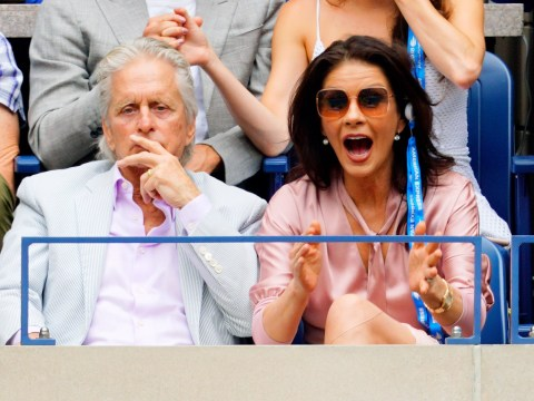Catherine Zeta Jones is an enthusiastic tennis fan as she enjoys US Open final with husband Michael Douglas
