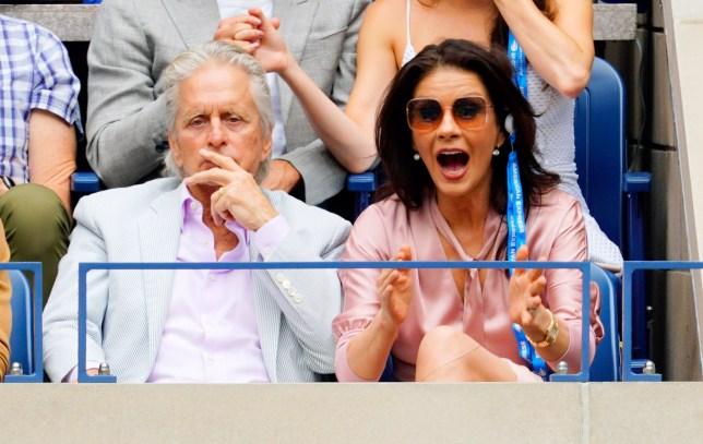 Michael Douglas and Catherine Zeta-Jones cheer on Rafael Nadal at the 2019 US Open Men's