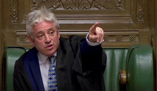 FILE PHOTO: Speaker of the House John Bercow gestures as he speaks after tellers announced the results of the vote Brexit deal in Parliament in London, Britain, March 12, 2019, in this screen grab taken from video. Reuters TV via REUTERS/File Photo
