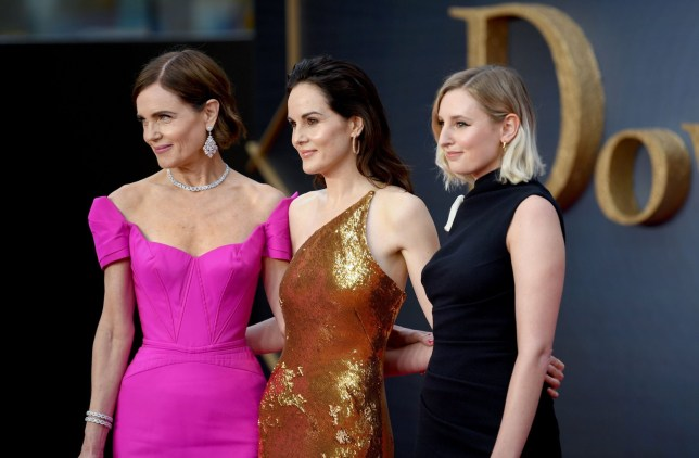 the cast of downton abbey, Elizabeth McGovern, Michelle Dockery, Laura Charmichael, at the film's premier