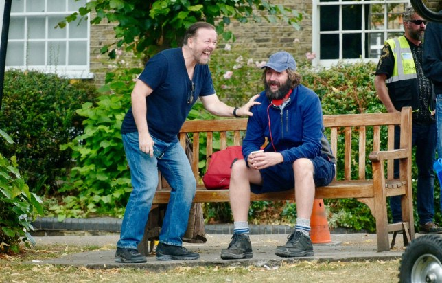 LONDON, ENGLAND - SEPTEMBER 10: Ricky Gervais and Joe Wilkinson seen filming 'After life season 2' in North London on September 10, 2019 in London, England. (Photo by J. Almasi/GC Images)