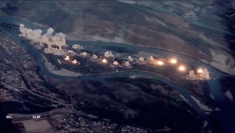 "U.S. jets bombed an ISIS-?infested island? in northern Iraq Tuesday, according to new video and a statement from the U.S.-led coalition battling the terrorist group. More than 80,000 pounds of laser-guided bombs were dropped on the island located on the Tigris River south of Mosul, according to U.S. Army Col. Myles B. Caggins III, a spokesman for Operation Inherent Resolve, based in Baghdad. U.S. officials called the island a ?major transit hub? for ISIS fighters going in and out of Syria. ""We're denying [ISIS] the ability to hide on Qanus Island,"" said Maj. Gen. Eric T. Hill, the commander of the Special Operations Joint Task Force ? Operation Inherent Resolve. ""We're setting the conditions for our partner forces to continue bringing stability to the region."""