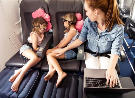 The Plane Pal works by extending the seat so kids can put their feet up or lie back