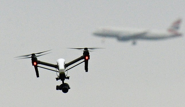 File photo dated 25/02/17 of a drone flying in Hanworth Park in west London, as environmental campaigners from Heathrow Pause - a splinter of the Extinction Rebellion movement - have said they plan to fly drones around Heathrow airport in a bid to ground flights at the transport hub.