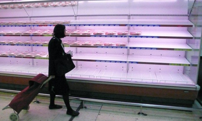 A woman walks past empty meat shelves in a supermarket in Madrid on June 10, 2008. The nationwide strike by truckers against fuel hikes is starting to have an effect on the population with shortages of petrol and food hitting the country. AFP PHOTO/PHILIPPE DESMAZES (Photo credit should read PHILIPPE DESMAZES/AFP/Getty Images)