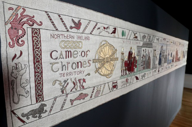 Undated handout photo issued by the Bayeux Museum of the Game of Thrones tapestry at the Hotel Du Doyen where it is being displayed, a short distance from the Bayeux Tapestry Museum. PA Photo. Picture date: Friday September 13, 2019. Created almost a thousand years later than the original tapestry, the Game Of Thrones tapestry is no less bloody, with the violent scenes the HBO series is famous for intricately recreated. See PA story SHOWBIZ Thrones. Photo credit should read: Bayeux Museum/PA Wire