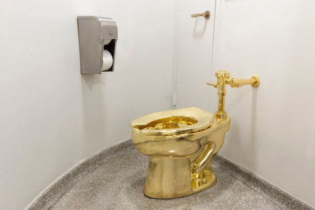 Undated handout photo issued by Blenheim Palace of a solid gold toilet, which has been stolen from Blenheim Palace, the birthplace of Winston Churchill. PA Photo. Issue date: Saturday September 14, 2019. The loo - valued at ?1 million and installed as part of an art exhibition at Blenheim Palace - was taken in the early hours of Saturday, Thames Valley Police have confirmed. See PA story POLICE Blenheim. Photo credit should read: Jacopo Zotti (Guggenheim Museum 2016)/PA Wire NOTE TO EDITORS: This handout photo may only be used in for editorial reporting purposes for the contemporaneous illustration of events, things or the people in the image or facts mentioned in the caption. Reuse of the picture may require further permission from the copyright holder.