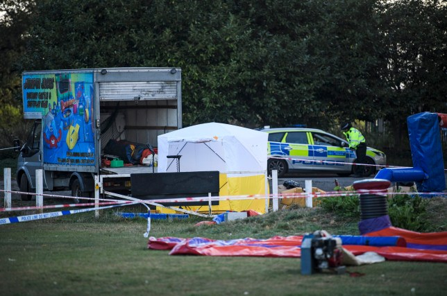 ? Licensed to London News Pictures. 15/09/2019. London, UK. A police tent at the scene at a children?s play area in Jubilee Park in Edmonton, North London where a man, reported to be 30 years old, has bene stabbed to death. A man in his 40's has been arrested. Photo credit: Ben Cawthra/LNP
