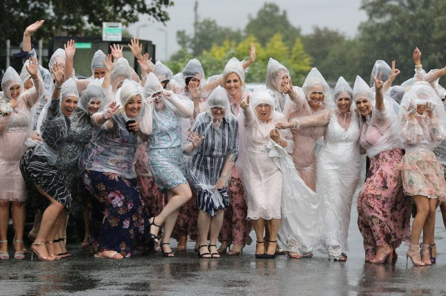 Bride and groom rock ponchos and refuse to let rain ruin their big day