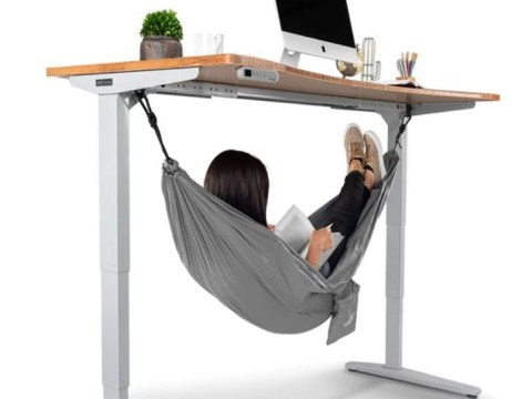 Tired at work? Buy this under the desk hammock for the ultimate power nap