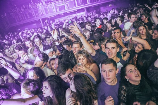 The crowd enjoying the atmosphere as Zane Lowe performs on stage at O2 Academy Leicester on October 12, 2014