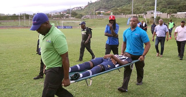 Players struck by lightning Picture: Marlon Reid (via loopjamaica.com) METROGRAB TAKEN WITHOUT PERMISSION WAS UNABLE TO MAKE CONTACT WITH PUBLICATION AND SNAPPER EDITORIAL DECISION TO TAKE