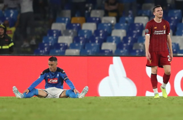 Napoli's Jose Callejon went down under a challenge from Liverpool's Andy Robertson to win a penalty in the Champions League clash
