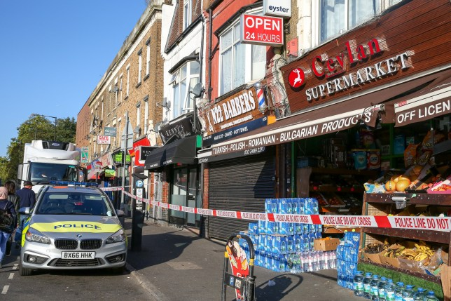 ?? Licensed to London News Pictures. 18/09/2019. London, UK. The scene on Lordship Lane near Wood Green underground station in North London following a shooting at 9.50pm on Tuesday, 17 September. A short time later, a 46-year-old woman and a 31-year-old man presented themselves at hospital. The woman had sustained a gunshot injury and her condition has been assessed as critical. The condition of the 31-year-old man is not life-threatening or life-changing. He is thought to have sustained a minor gunshot injury. Photo credit: Dinendra Haria/LNP