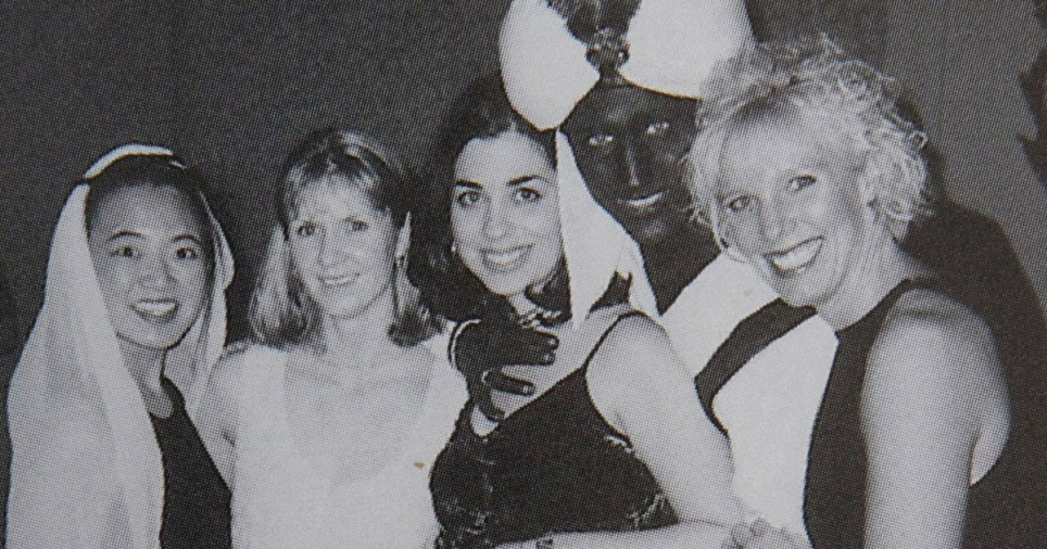 Justin Trudeau yearbook photo from 2001 'Arabian Nights' themed party at West Point Grey Academy where he taught